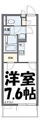 芝富士ハイツ 2階1Kの間取り
