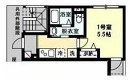 セレーナ神之木町 2階1Kの間取り
