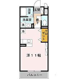 南海高野線 初芝駅 徒歩13分の賃貸アパート 1階ワンルームの間取り