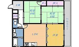 南埜第1マンション[3階]の間取り