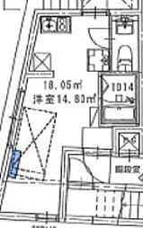 西武新宿線 野方駅 徒歩2分の賃貸マンション 地下1階ワンルームの間取り