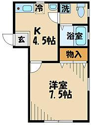 DOME-TAMA M棟M 2階1Kの間取り