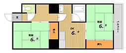 コーポサンルーツII[6階]の間取り