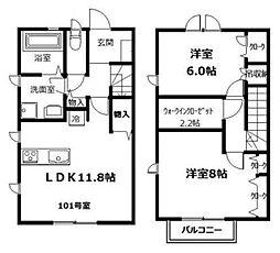 [テラスハウス] 神奈川県川崎市中原区下小田中5丁目 の賃貸【/】の間取り