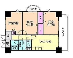 フラット野田III[9階]の間取り