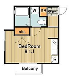 アパートメントブラウニー 1階ワンルームの間取り