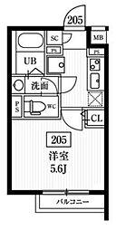 エルファーロ神楽坂 2階1Kの間取り