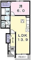 ラフレシール・メゾン・宮崎III 1階1LDKの間取り