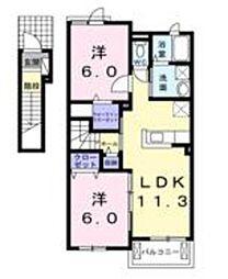 神奈川県相模原市中央区上溝の賃貸アパートの間取り