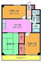 千葉県市川市平田3丁目の賃貸マンションの間取り