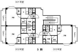 羽犬塚ガーデンハイツIII[303号室]の間取り
