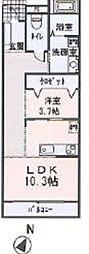 シャンプワール新鎌ヶ谷C棟[1階]の間取り