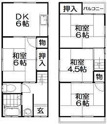 [一戸建] 大阪府枚方市星丘1丁目 の賃貸【/】の間取り