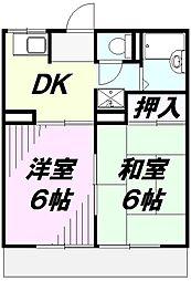 コーポ名取2号[2階]の間取り