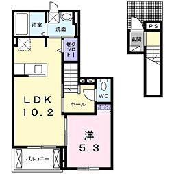 愛知県岡崎市福岡町字上流の賃貸アパートの間取り