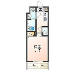 レオンヴァリエ大阪ベイシティ 8階1Kの間取り
