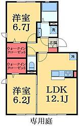 千葉県千葉市緑区おゆみ野中央7丁目の賃貸アパートの間取り