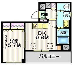(仮称)富士見台4丁目HBS計画 2階1DKの間取り