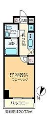 GENOVIA綾瀬skygarden 11階1Kの間取り