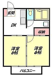 レオパレスクレストC 7444 2階2DKの間取り