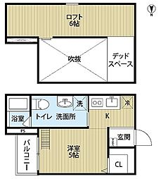 JR阪和線 浅香駅 徒歩7分の賃貸アパート 1階1Kの間取り