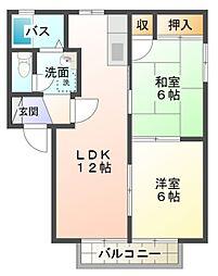 愛知県岡崎市北野町字下池の賃貸アパートの間取り
