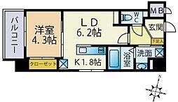 西鉄貝塚線 西鉄香椎駅 徒歩4分の賃貸マンション 2階1LDKの間取り