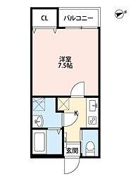 新京成電鉄 上本郷駅 徒歩9分の賃貸アパート 3階1Kの間取り