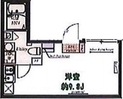 プラチナフォルム中延WEST 地下1階ワンルームの間取り