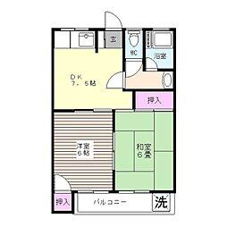 鶴田コーポ[201号室]の間取り