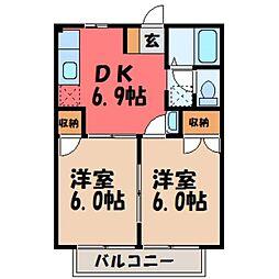 栃木県下野市駅東3丁目の賃貸アパートの間取り