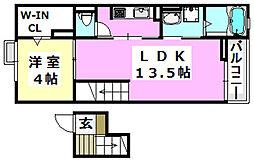 大阪モノレール 摂津駅 3.1kmの賃貸マンション 4階1LDKの間取り