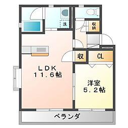 JR東海道本線 豊橋駅 バス23分 高師原口下車 徒歩11分の賃貸マンション 3階1LDKの間取り