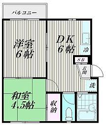 東京都大田区南馬込4丁目の賃貸アパートの間取り