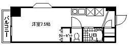 コート富士館 3階ワンルームの間取り