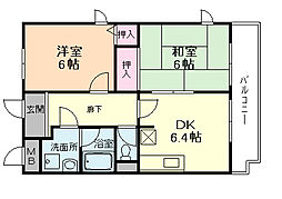 大阪府豊中市服部元町1丁目の賃貸マンションの間取り