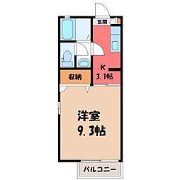 栃木県宇都宮市江曽島1丁目の賃貸アパートの間取り