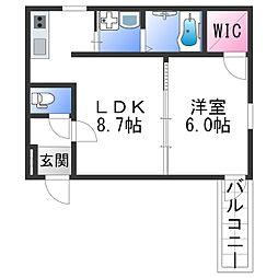 フジパレス田中町III番館 1階1LDKの間取り
