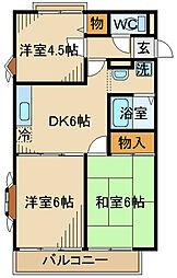 京王線 武蔵野台駅 徒歩9分の賃貸マンション 1階3DKの間取り