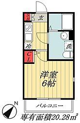 JR総武線 本八幡駅 徒歩7分の賃貸アパート 1階1Kの間取り