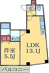 JR外房線 本千葉駅 徒歩5分の賃貸マンション 3階1DKの間取り
