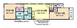 大阪府豊中市玉井町2丁目の賃貸アパートの間取り
