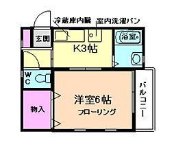 フラッツ栄根[2階]の間取り
