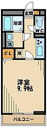 京王線 長沼駅 徒歩7分の賃貸アパート 2階1Kの間取り