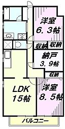 埼玉県所沢市松葉町の賃貸マンションの間取り