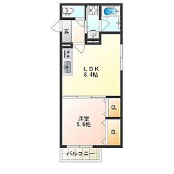 JR東西線 加島駅 徒歩8分の賃貸アパート 2階1LDKの間取り