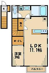 クレール千歳船橋 2階1LDKの間取り