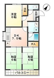 愛知県豊田市大林町12丁目の賃貸マンションの間取り
