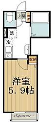 JR中央線 高円寺駅 徒歩11分の賃貸アパート 2階1Kの間取り