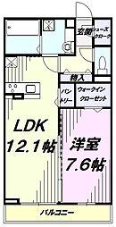 JR中央線 国立駅 徒歩15分の賃貸アパート 3階1LDKの間取り